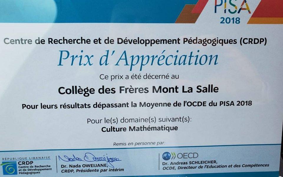Mont La Salle  dépasse la moyenne de l'OCDE au niveau de la culture mathématique.