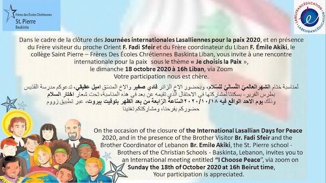Le Collège Saint Pierre Baskinta organise une rencontre pour la Paix au  Proche-Orient.