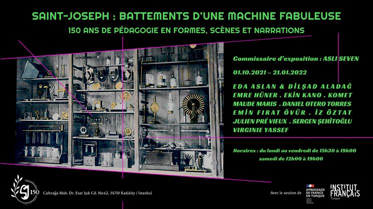 """L'exposition """"Saint-Joseph : «Battements d'une machine fabuleuse» à l'occasion des célébrations du 150ème anniversaire du lycée."""